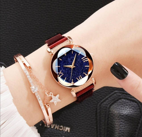 reloj de pulsera correa de iman - flor de cristal - mayoreo