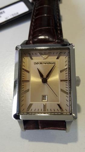 reloj de pulsera dama armani acero y cuero