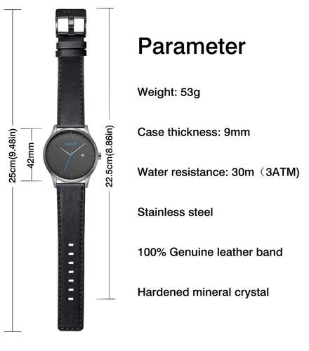 reloj de pulsera de cuarzo analógico causal banda de cuero n