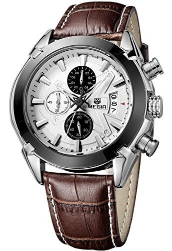 reloj de pulsera de cuarzo de cuero cronógrafo militar megir