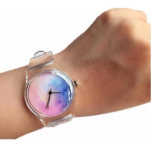 reloj de pulsera de cuarzo de silicona transparente niña