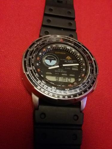 reloj de pulsera vintage citizen chronograph alarm aviator