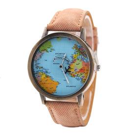 Reloj De Pulsera Vintage Unisex Con Marca De Mapa Del Mundo