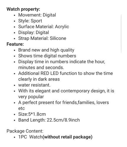 reloj de silicon. rojo