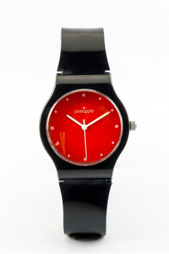reloj de silicona pineapple mini negro con rojo