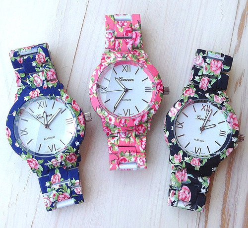 reloj de vestir para dama casual flores