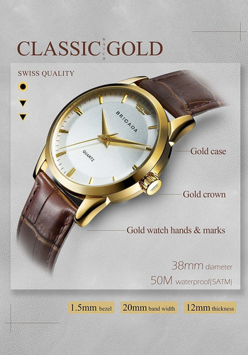 reloj de vestir para hombre swiss brand classic gold pa...