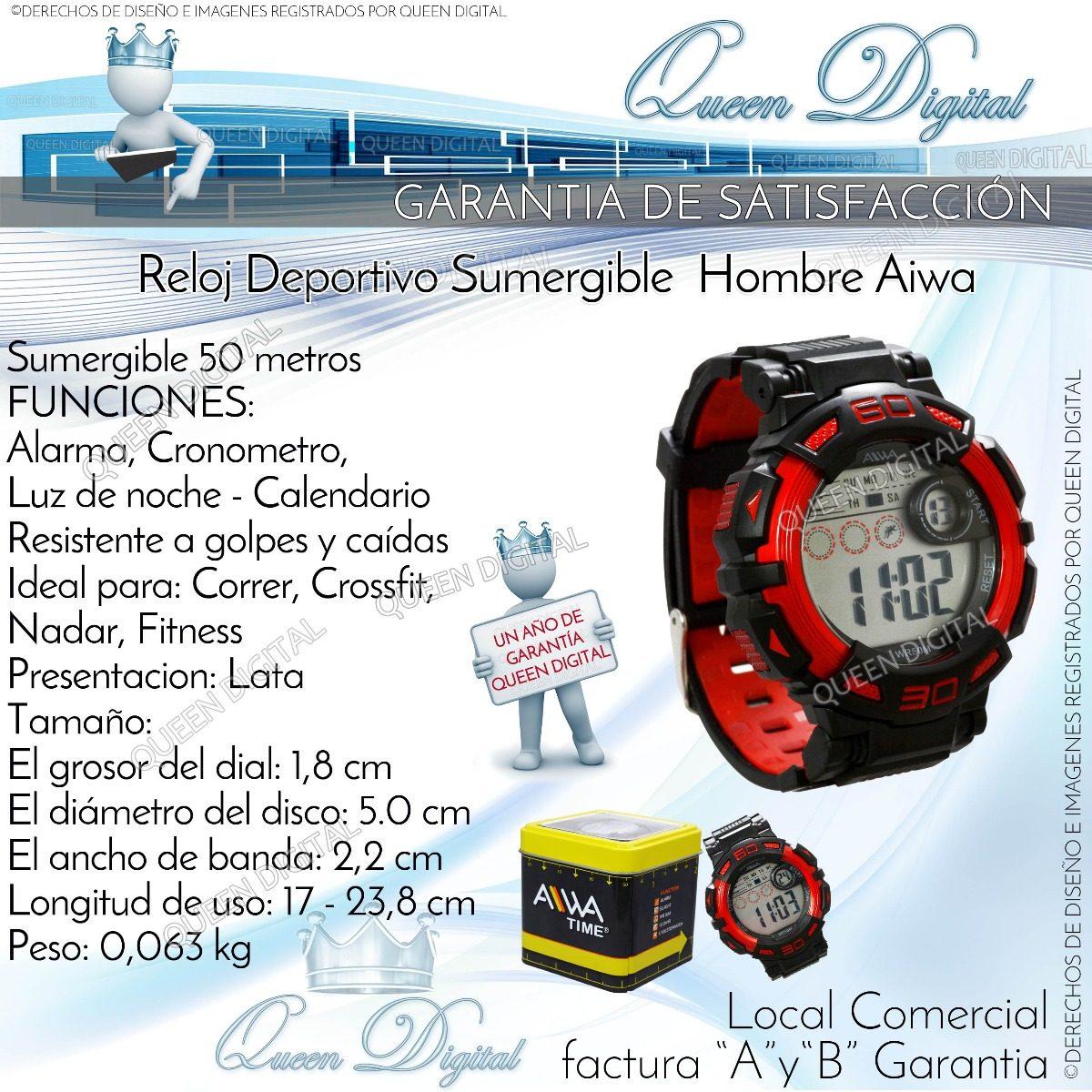 fc945f85996d reloj deportivo alarma cronometro luz sumergible 50mt aiwa. Cargando zoom.
