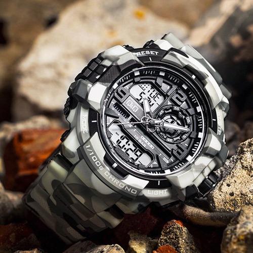 reloj deportivo camuflado blanco militar hombre q q citizen