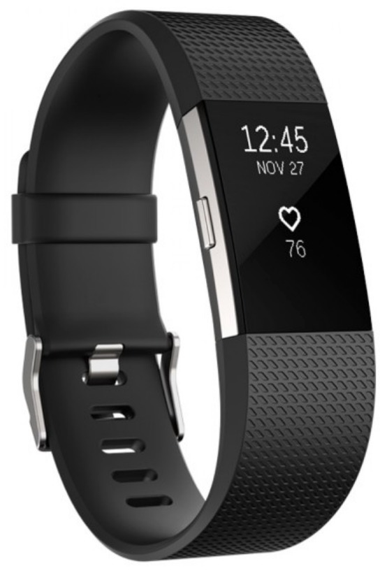 Fitbit Grande Deportivo Charge Plateado Reloj 2 Negro JTcF1lK