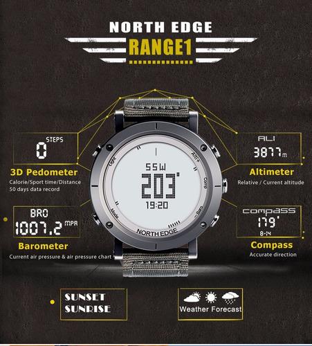 reloj deportivo north edge sumergible altímetro brújula