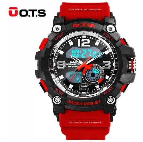 reloj deportivo rojo casual hombre ots original acuático