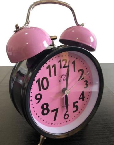 reloj despertador alarma con luz campanillas grande metalico *** full-time mania *** mercadolider platinum !!