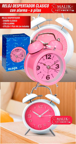 reloj despertador clasico a pilas nuevo cn alarma de campana