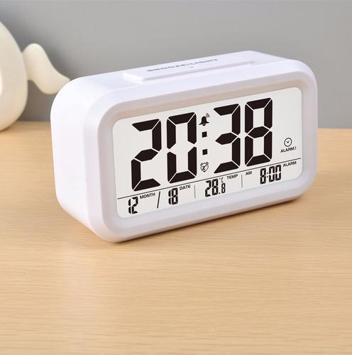 reloj despertador con calendario y termometro programable