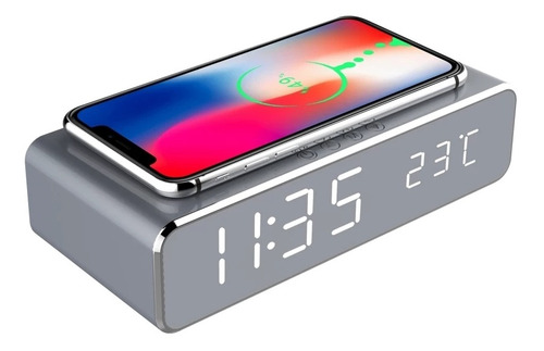 reloj despertador con cargador inalámbrico