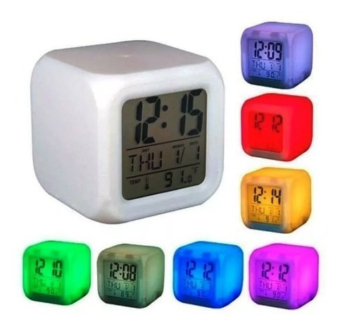 reloj despertador cubo luminoso digital alarma temperatura
