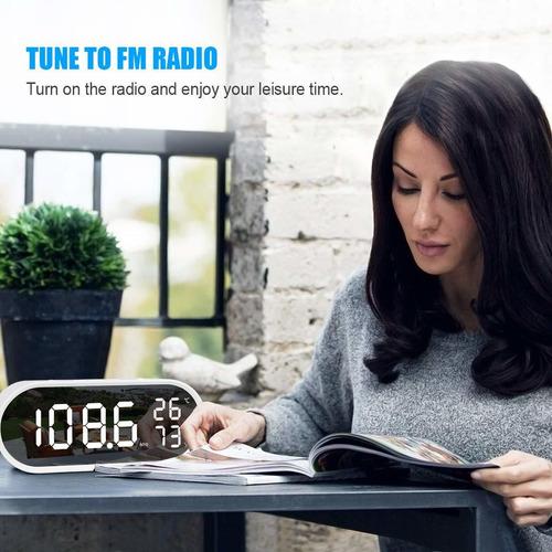 reloj despertador digital espejo de radio superficie gr...