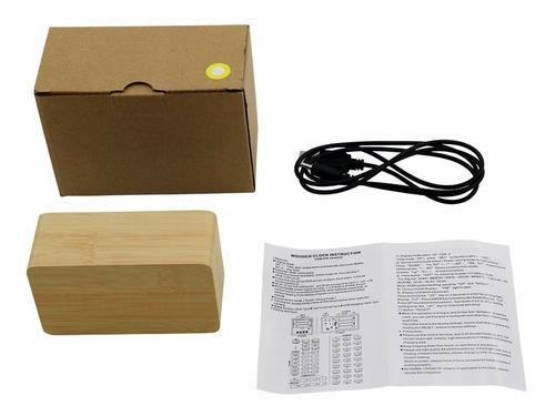 reloj despertador digital imitación madera temperatura usb