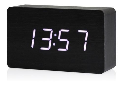 reloj despertador digital rectangular madera sensor sonido