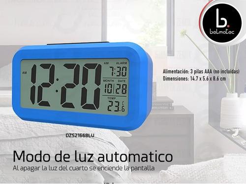 reloj despertador digital sensor luz alarma temperatura
