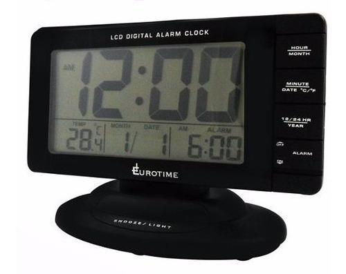 reloj despertador eurotime digital con fecha y temperatura