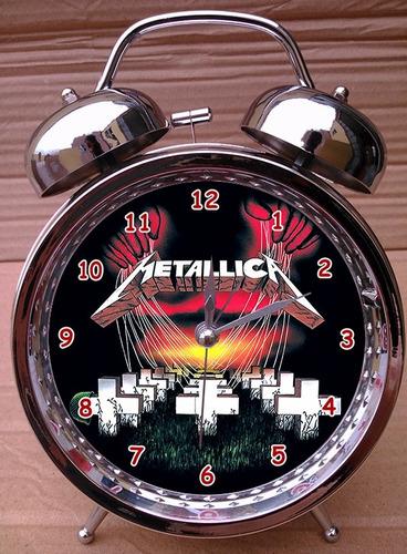 reloj despertador iron maiden - the cure - metallica - acdc
