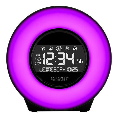 reloj despertador la crosse lcd color luz cambiable