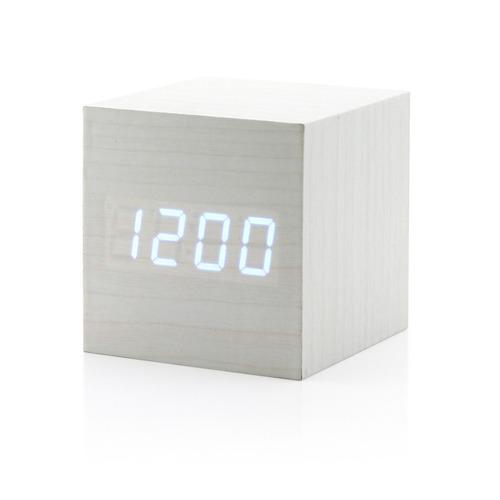 reloj despertador madera cubo luz lcd sonido alarma