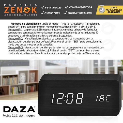 reloj despertador madera led temp fecha alarmas usb
