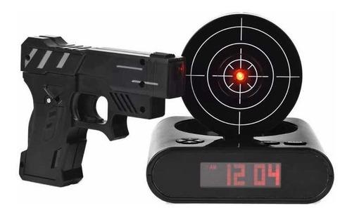reloj despertador pistola tiro al blanco laser objetivo diseño  gun alarm disparos ohmyshop