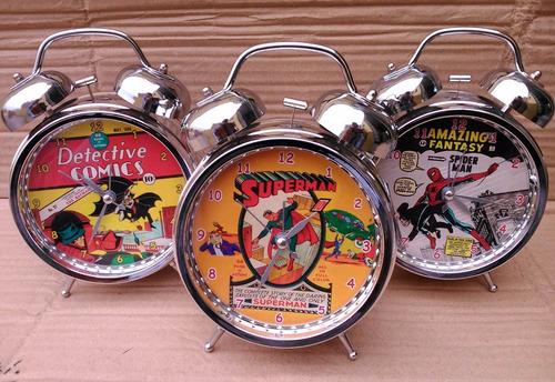 reloj despertador superman - batman - spiderman