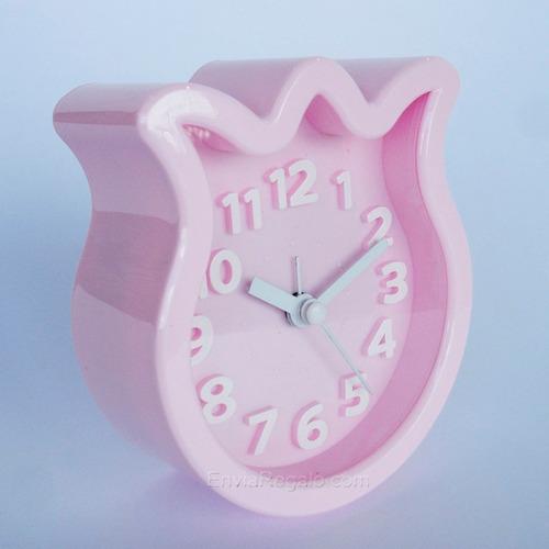 reloj despertador tulipán rosa/verde/amarillo