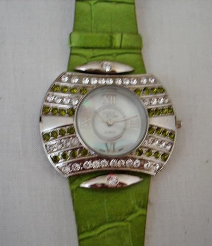 reloj dial madreperla con cristales movimiento japonés nuevo