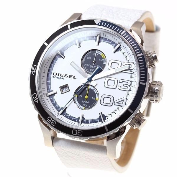 616052736ca4 Reloj Diesel Blanco Azul Piel Acero Casual Hombre Cronografo ...