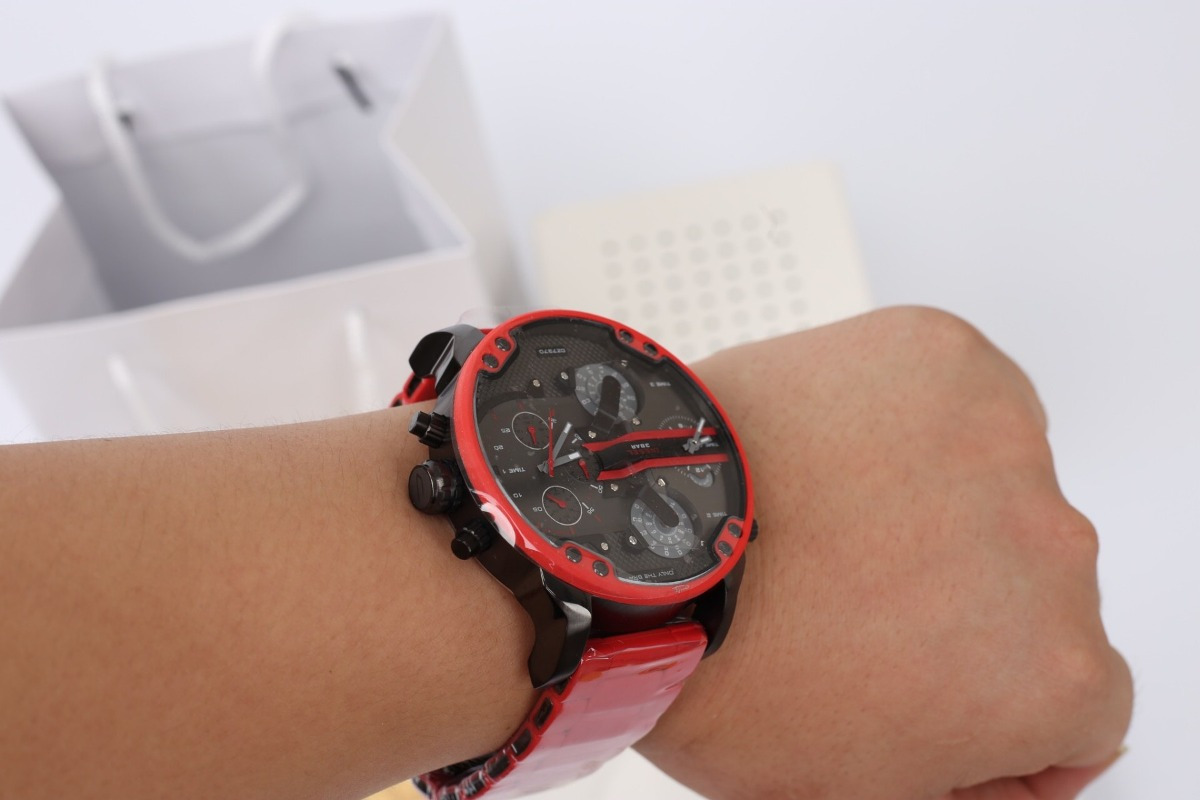 29e76e76d6b9 reloj diesel dz 7370 mr. daddy 2.0 gunmetal red chronograph. Cargando zoom.