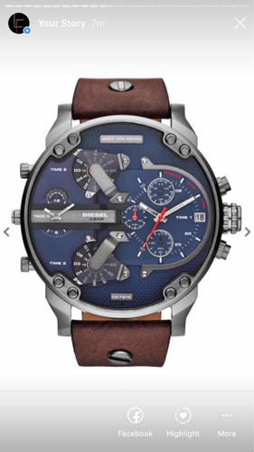 reloj diesel mr.daddy plata piel marron