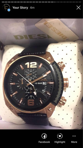 reloj diesel overflow oro rosa piel