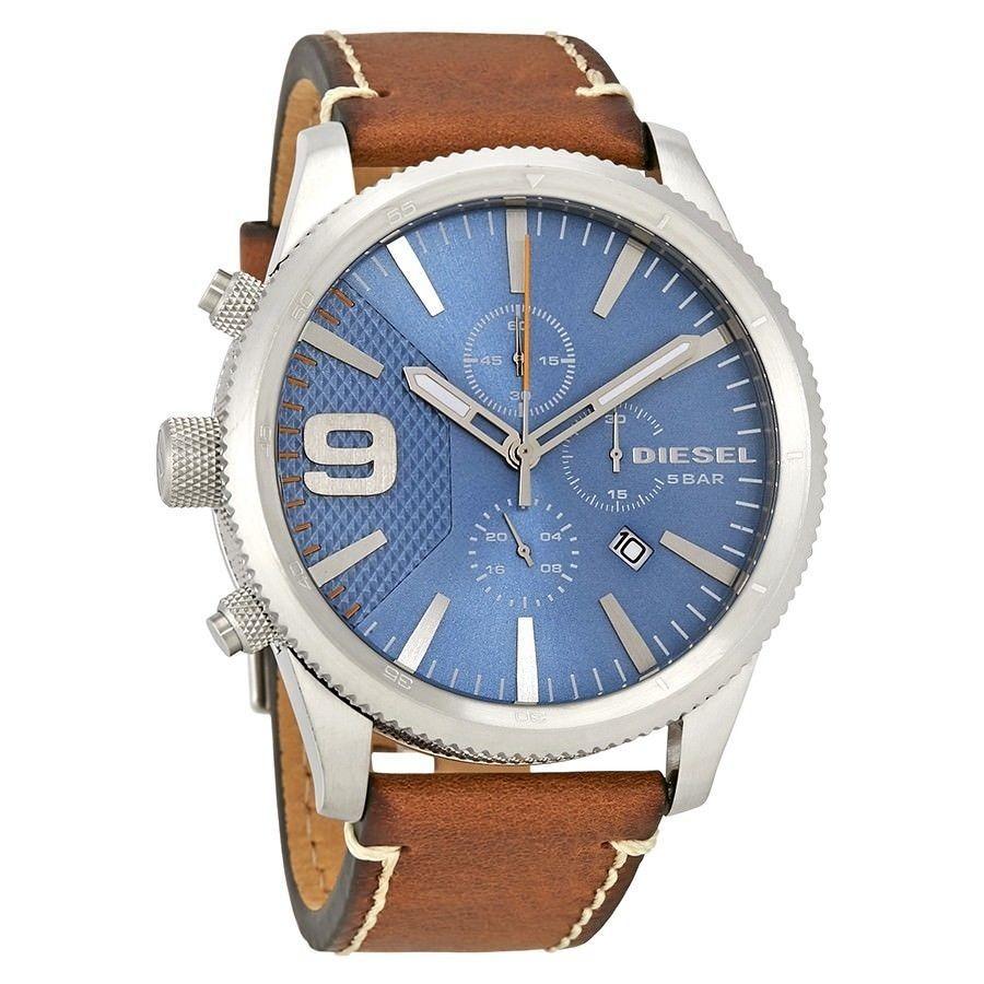 ce5fb4f407ed reloj diesel para caballero con esfera azul y correa cafe. Cargando zoom.