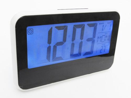 reloj digital alarma numeros grandes fechador luz led