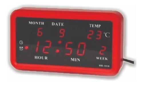 reloj digital, calendario, termómetro