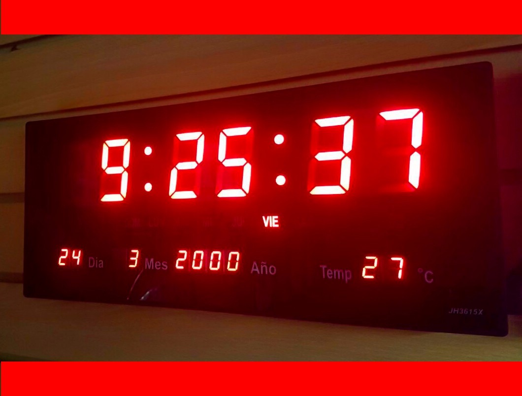 Reloj Digital De Pared Led 36 Cm Largo Termometro