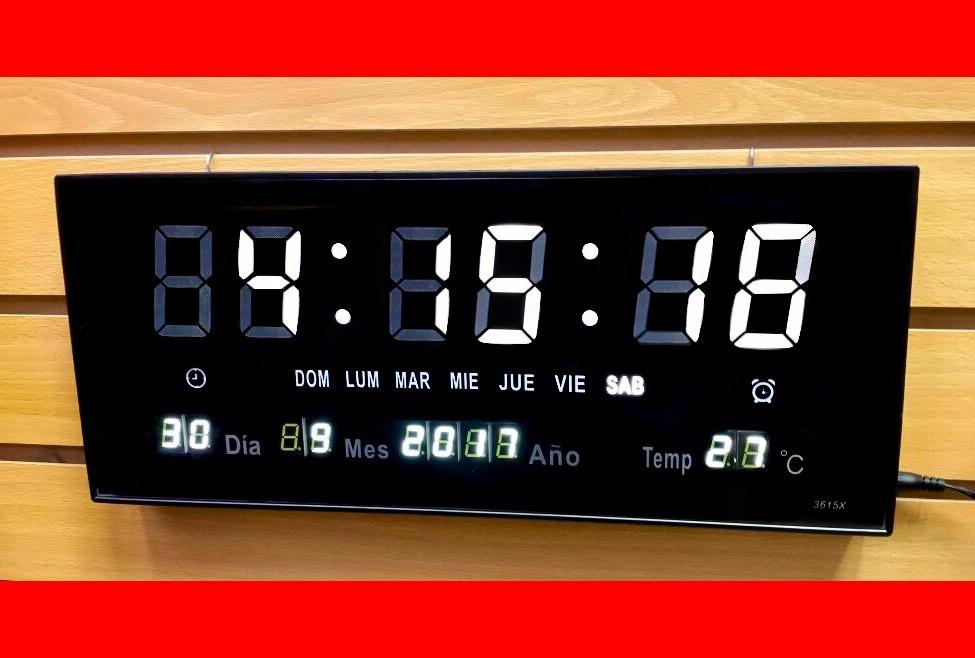 Reloj digital de pared led numeros blancos term metro 36 - Reloj decorativo de pared ...