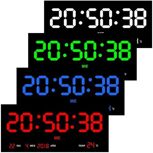 reloj digital de pared led varios colores termómetro 36 cm