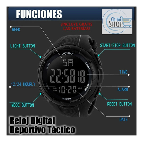 reloj digital deportivo tactico con luz nocturna darkpower