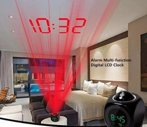 reloj digital led blancocon proyeccion laser al techo