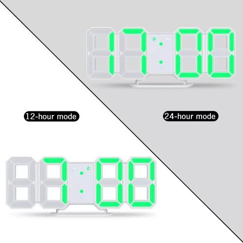 reloj digital luminoso números led 3d, alarma, blanco, usb
