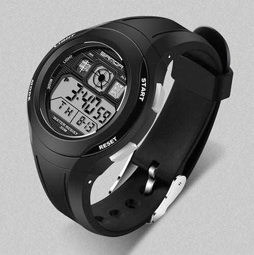 reloj digital manilla goma resistente agua sanda 331 negro