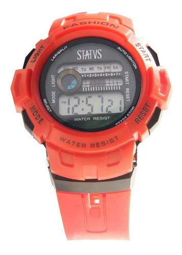 reloj digital status con cronógrafo, luz y alarma mod. md01