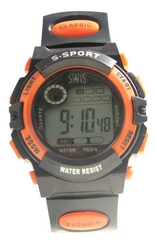 reloj digital status con cronómetro, luz y alarma mod. md03